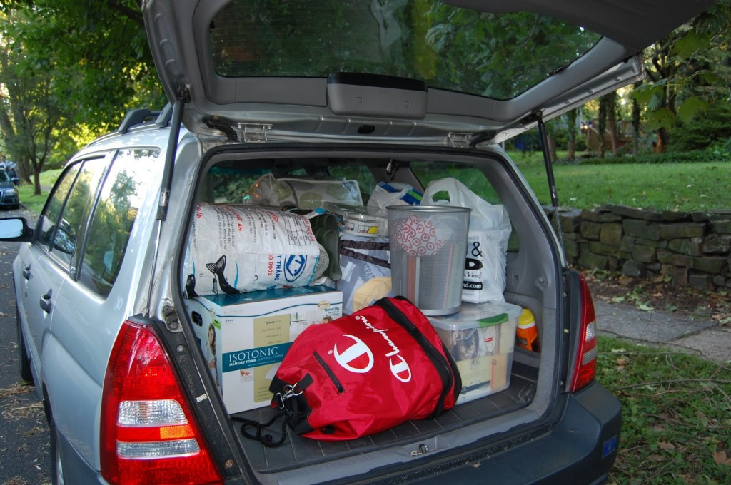 car with personal items inside